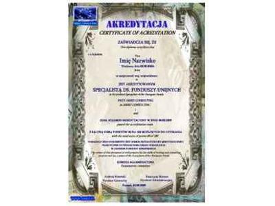CERTYFIKAT - AKREDYTACJA (dwujęzyczny dokument uprawniający do wykonywania zawodu) - kliknij, aby powiększyć