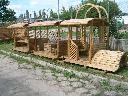Ciuchcia - altana pociąg drewniana ozdoba ogrodow, Lublin, Tarnawa Mała, lubelskie