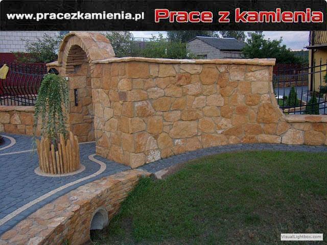 Ogrodzenie z kamienia styl dziki piaskowiec dzikówka
