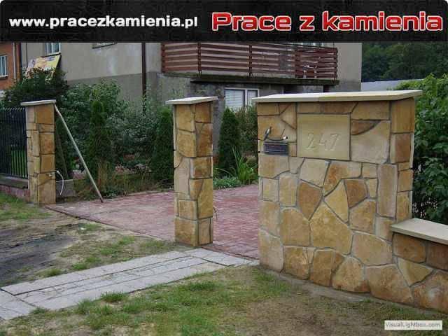 Ogrodzenie z kamienia piaskowiec ogrodzenie wykonane w stylu dzikówki