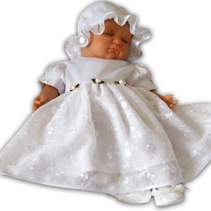 baby girl christening dress white satin 3-6 months