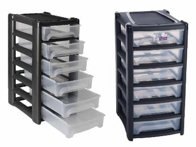 Plastikowa szafka na dokumenty regał modułowy do biura 6 szuflad