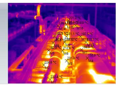 Zdjęcie nr 1. Zdjęcie termowizyjne linii produkcyjnej. - kliknij, aby powiększyć