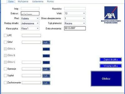 kalkulatory dla Axa - kliknij, aby powiększyć