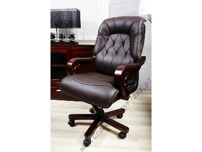 W Mega Skórzany fotel biurowy dla prezesa MAKLER brąz, Stara Iwiczna AQ04