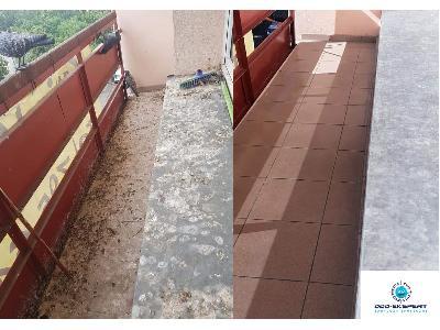 Usuwanie ptasich odchodów z balkonu - kliknij, aby powiększyć